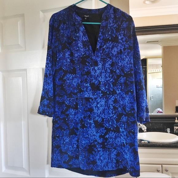 Madewell Dresses & Skirts - Madewell Silk Blue Floral Dress/tunic